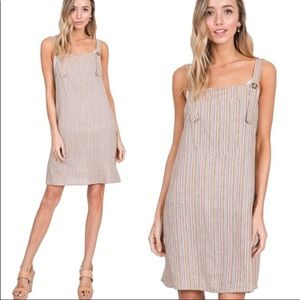 🌲Striped Overall Dress w/ Big Front Pocket Color